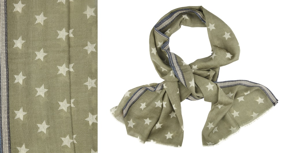 All year round scarves: 92% WOOL / 8% SILK SCARF PRINT IN ...